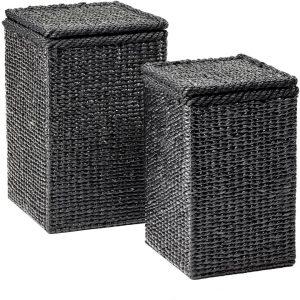 Maison P derrey – Hyacinth mand – Rieten mand – Black water   Wasmand met deksel -Zwart – Grijs – Riet   H52cm x 34cm x 34cm