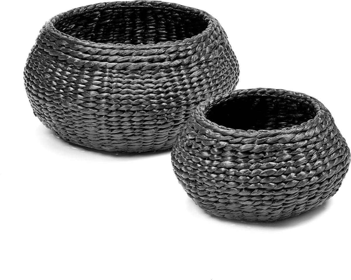 Maison P derrey – Hyacinth mand – Rieten mand – Black water – Zwart – Grijs – Riet – H18cm x D35cm