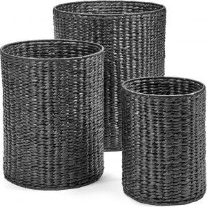 Maison P derrey – Hyacinth mand – Rieten mand – Black water – Zwart – Grijs – Riet – H60cm x D50cm