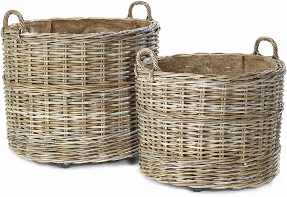 Maison P derrey – Rieten mand – Plantenbak – Op wielen / verrijdbaar – Riet – Jute – Beige – Naturel – Grijs – 70cm x 58cm x 9cm (DxH +9cm)