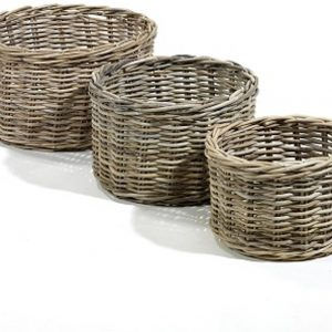Maison P derrey – Rieten mand – Plantenbak – Riet – Beige – Naturel – Grijs – Diameter 50 / Hoog 30