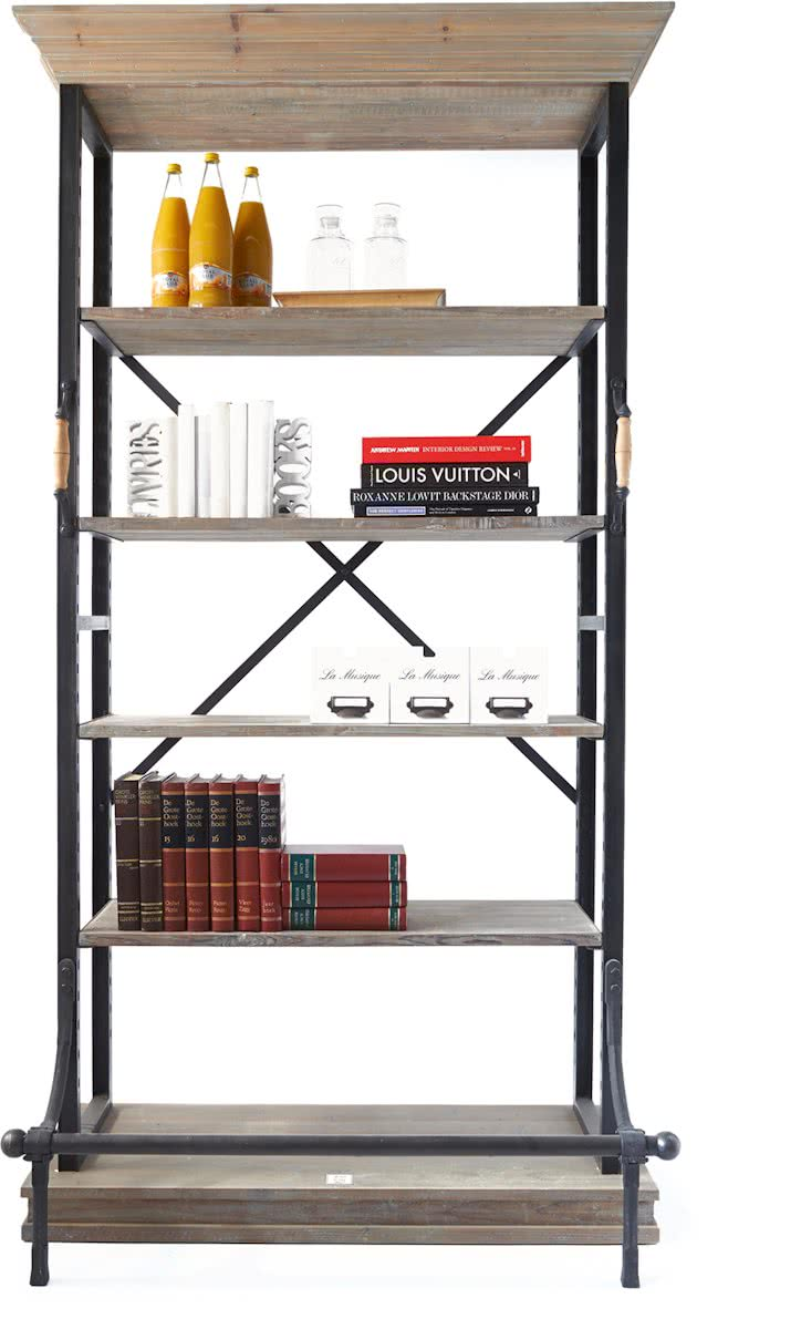 Riviera Maison Balthazar Cabinet – Boekenkast – Aluminium/Hout