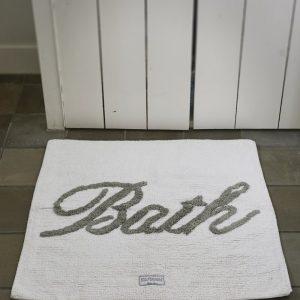 Riviera Maison Bath Mat 'Bath' – Badmat – 50×80 – wit/flax – Katoen