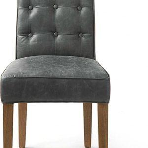 Riviera Maison Cape Breton Dining Chair – Eetkamerstoel – Antraciet – Leer/Hout