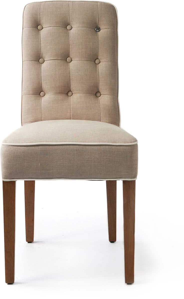 Riviera Maison Cape Breton Dining Chair – Eetkamerstoel – Flax/Wit – Linnen/Hout