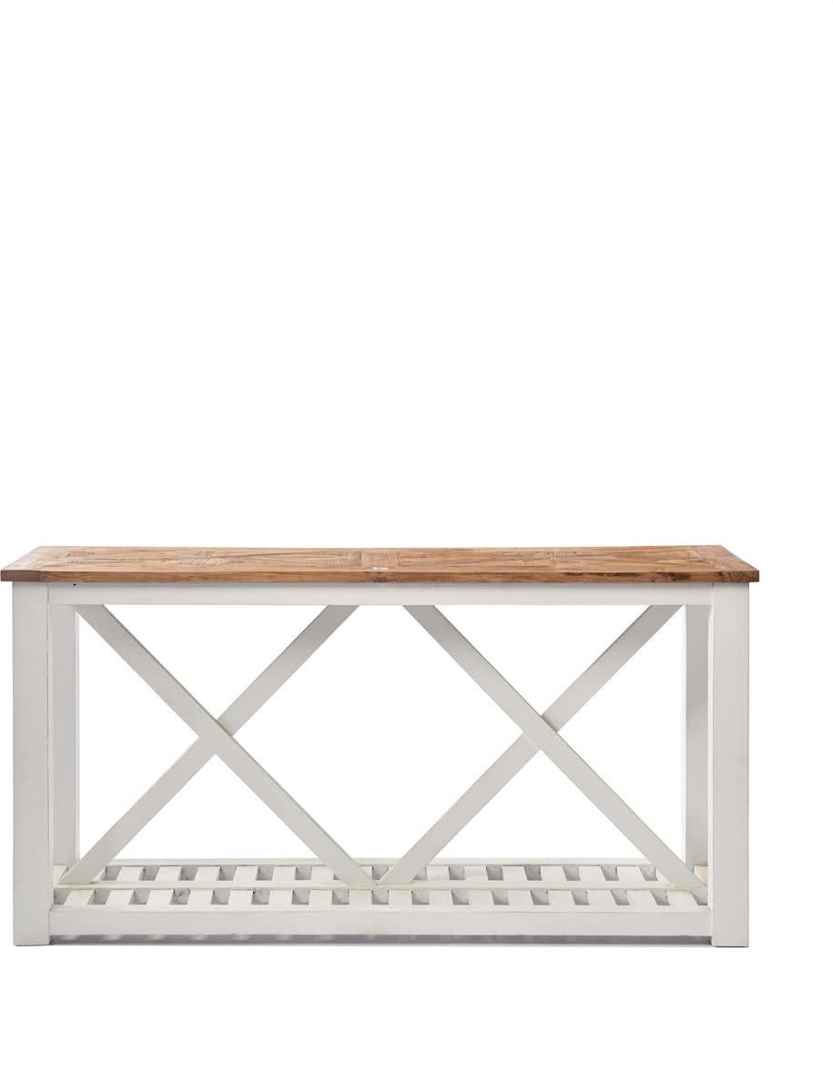 Riviera Maison Chateau Chassigny Side Table with shelf – Bijzettafel – 160 x 46 cm – Wit/Hout