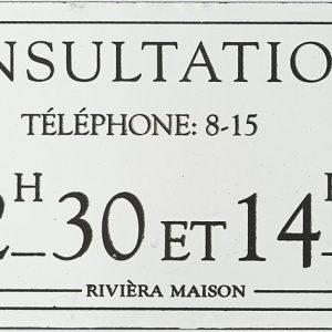 Riviera Maison – Classic Enamel Consultations Sign – Wandbord – Wit – Ijzer