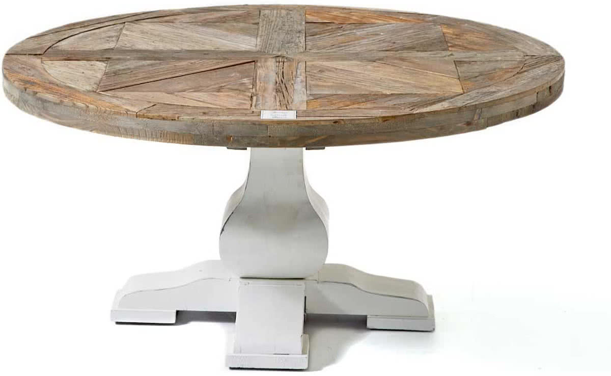 Riviera Maison Crossroad Coffee Table – Salontafel – Ø 90 cm – Wit/Hout