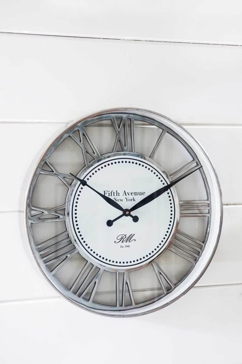 Riviera Maison Fifth Avenue Clock – Wandklok – Zilverkleurig