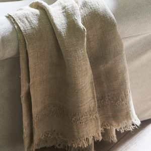Riviera Maison  Happy Island Throw – Plaid – 180×130 – taupe – Linnen
