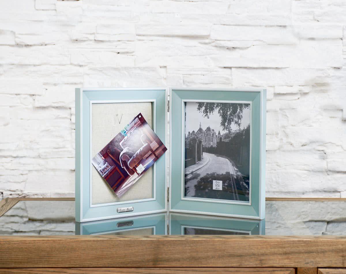 Riviera Maison – Happy Memories Duo Photo Frame – Fotolijst – Lichtblauw – Hout
