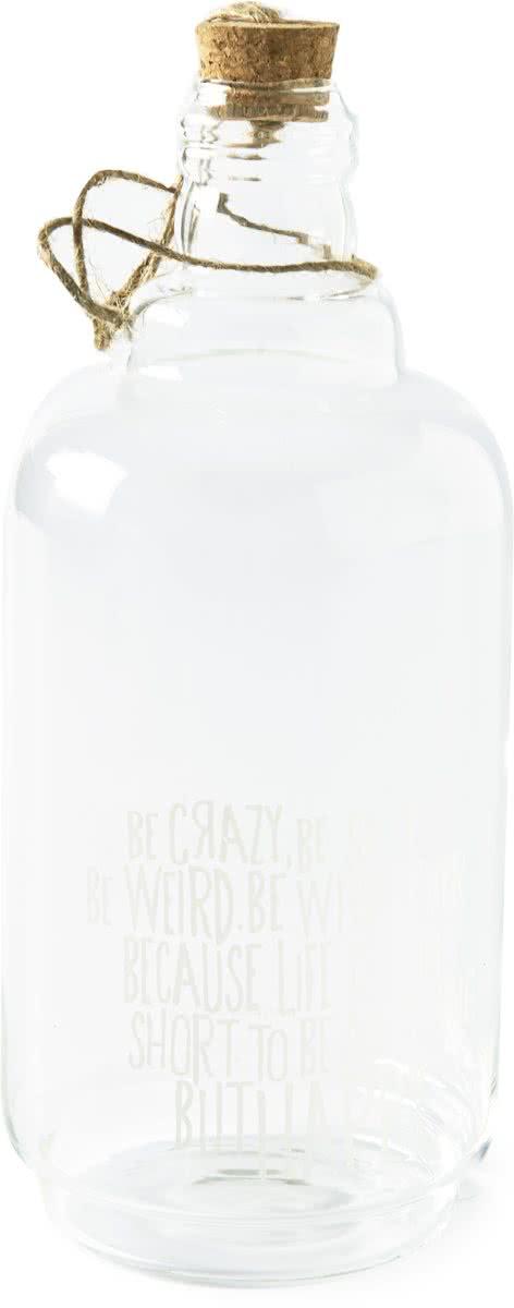 Riviera Maison Life Is Too Short – Decoratieve fles – Glas – Transparant