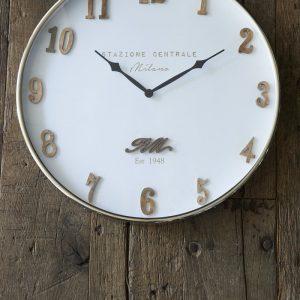Riviera Maison Milano Clock – Klok – Dia 50 – Wit – Hout