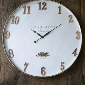 Riviera Maison Milano Clock – Klok – Dia 90 – Wit – Hout