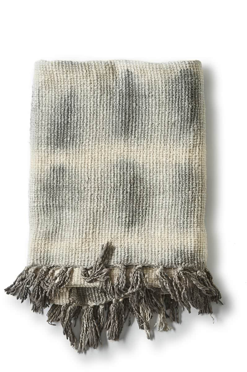 Riviera Maison – RM Dip Dye Throw grey – 170×130 – Plaid – Grijs – Katoen