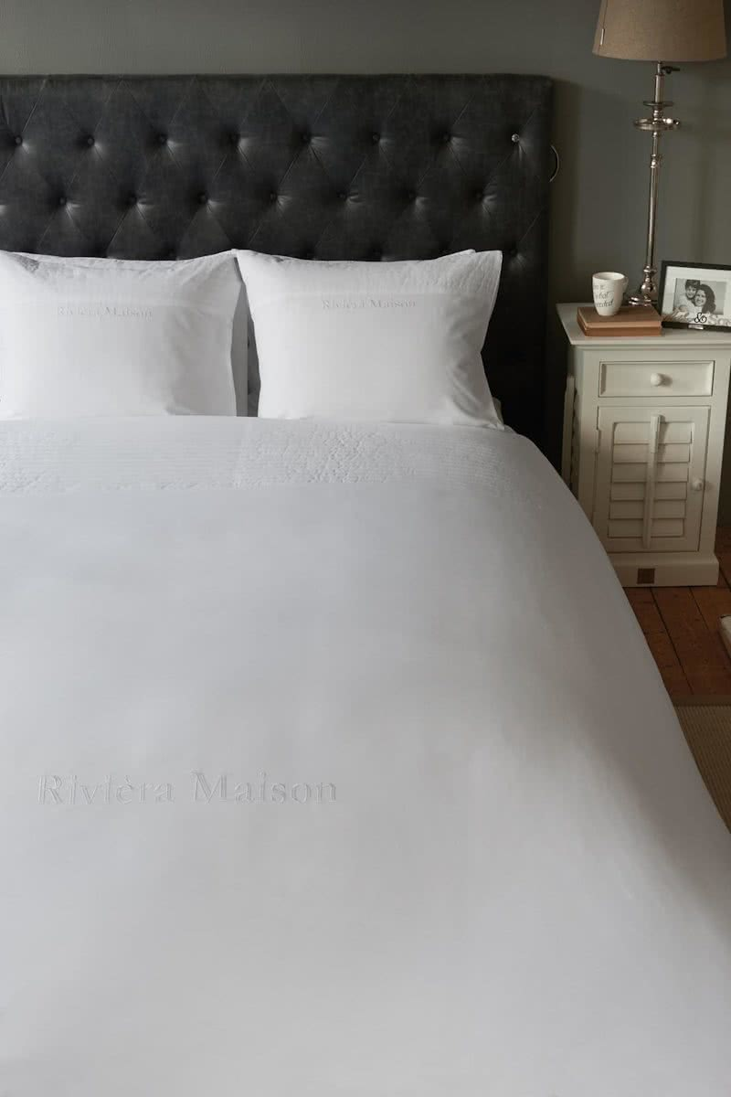 Riviera Maison Rue Francois – Dekbedovertrek – Eenpersoons – 140×200/220 cm – Wit