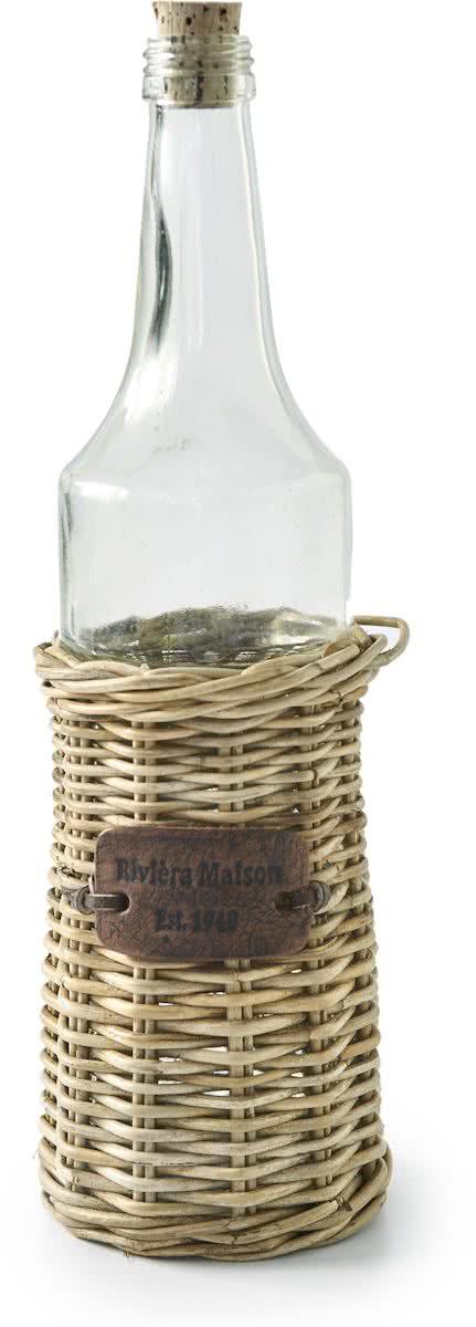 Riviera Maison – Rustic Rattan Bottle Small – Decoratieve fles – Rattan en Glas