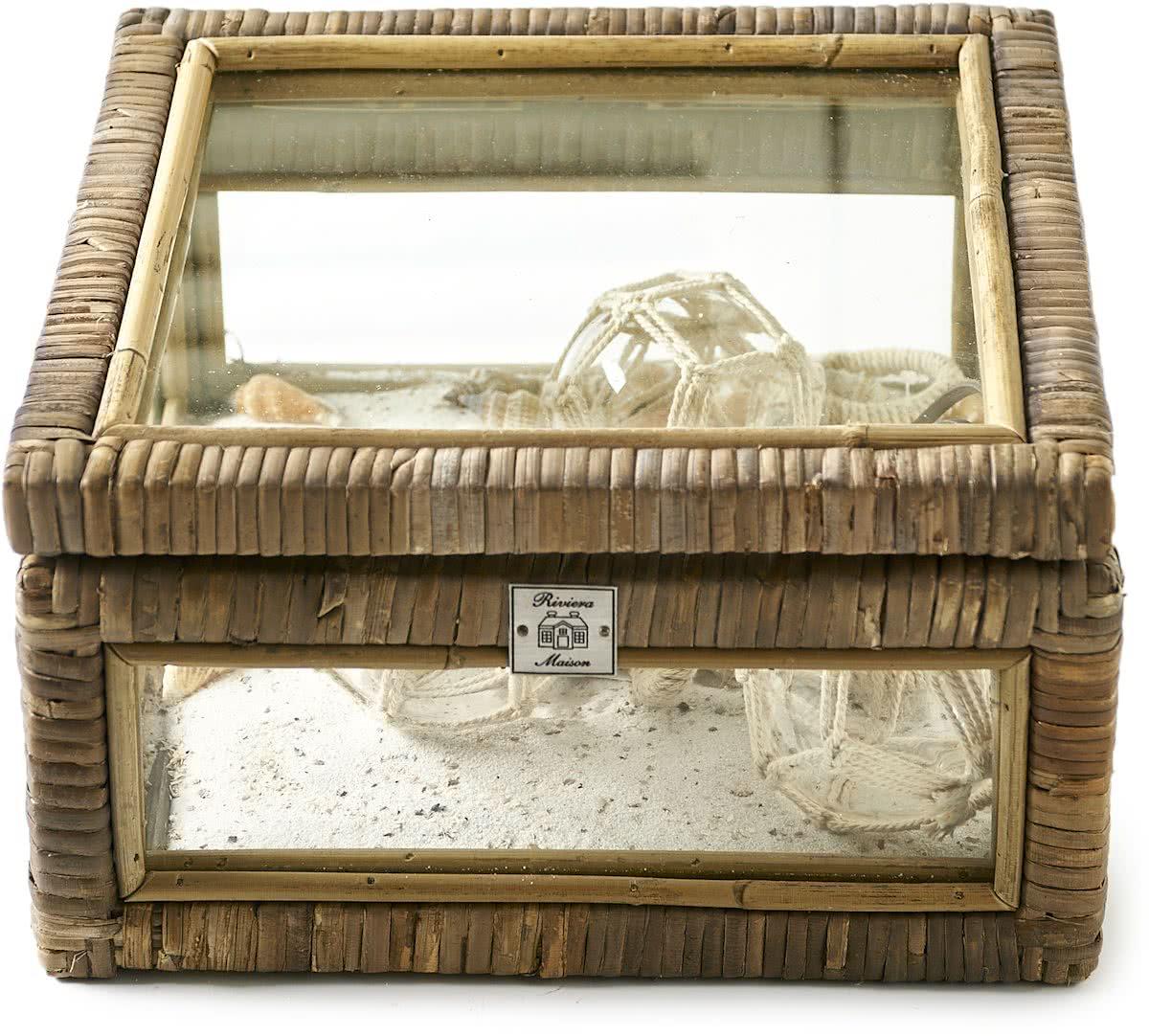 Riviera Maison Rustic Rattan French Glass Box S – Opbergmand – Rattan/Transparant