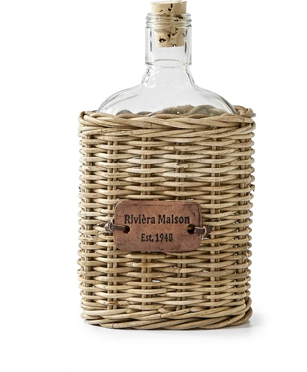 Riviera Maison – Rustic Rattan Hip Flask – Decoratieve fles – Rattan en Glas