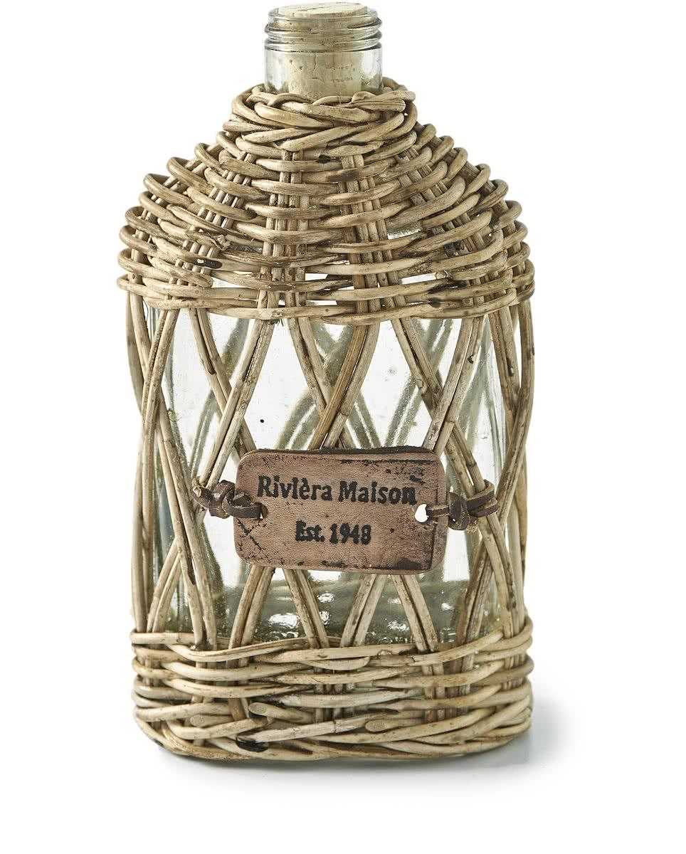 Riviera Maison – Rustic Rattan Hip Flask Open Weave – Decoratieve fles – Rattan en Glas