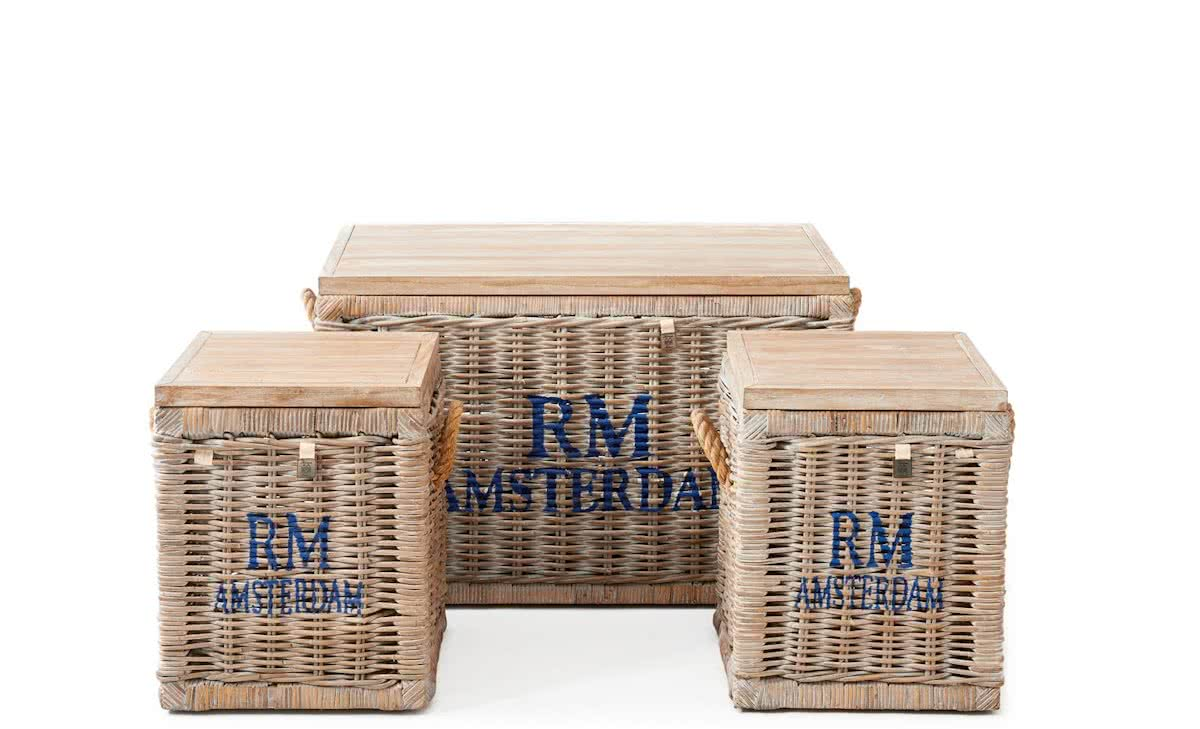 Riviera Maison Rustic Rattan Plantation Trunk – Opbergkist – Set van 3 – Wit