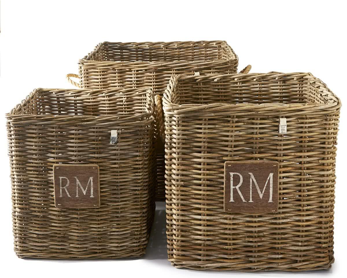 Riviera Maison – Rustic Rattan Square Basket S/3 – Manden en boxen – Rattan
