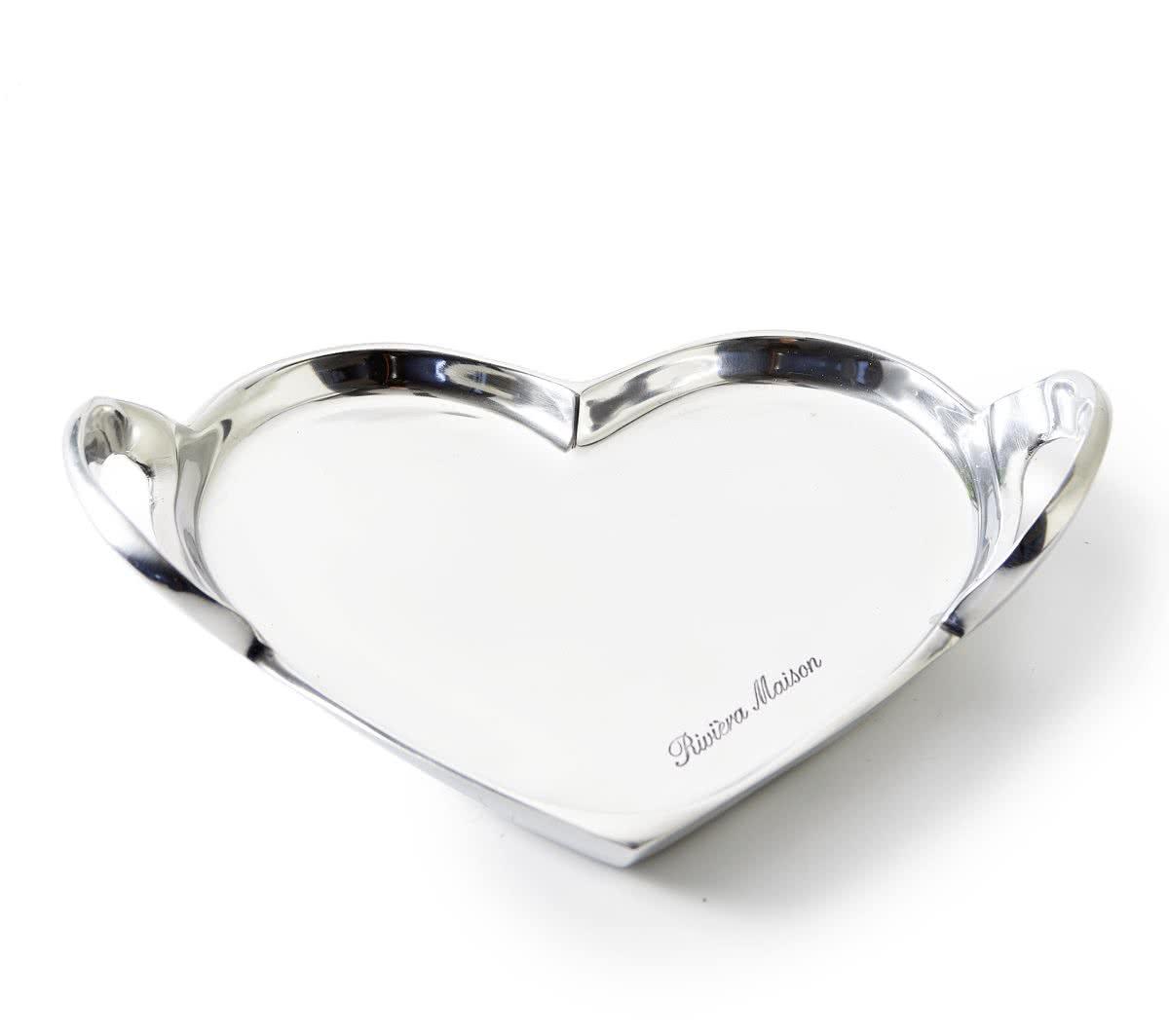 Riviera Maison – Sweetheart Decoration Tray S – Decoratieve schaal – zilver – Aluminium