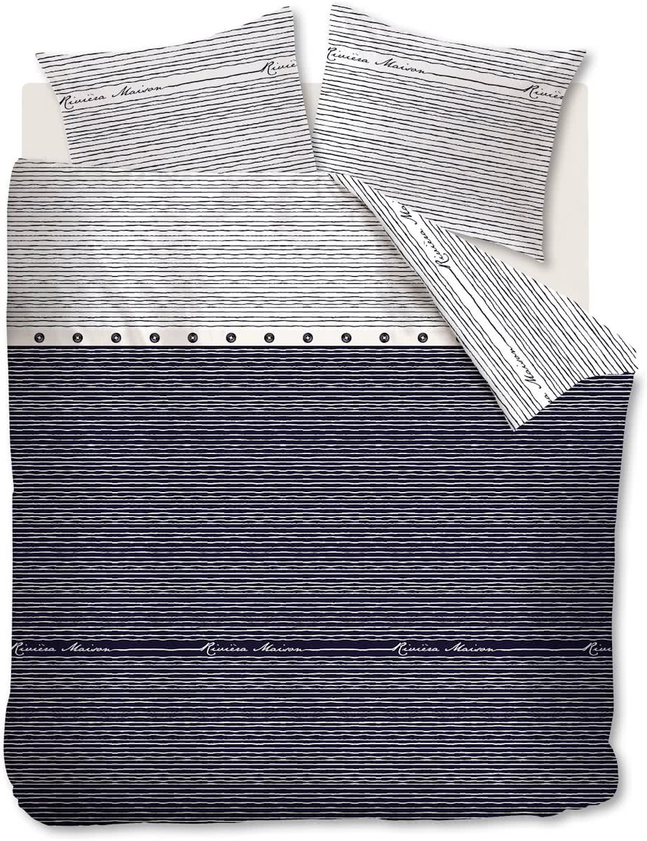 Riviera Maison Sylt Stripe – Dekbedovertrek – Eenpersoons – 140×200/220 cm – Blauw