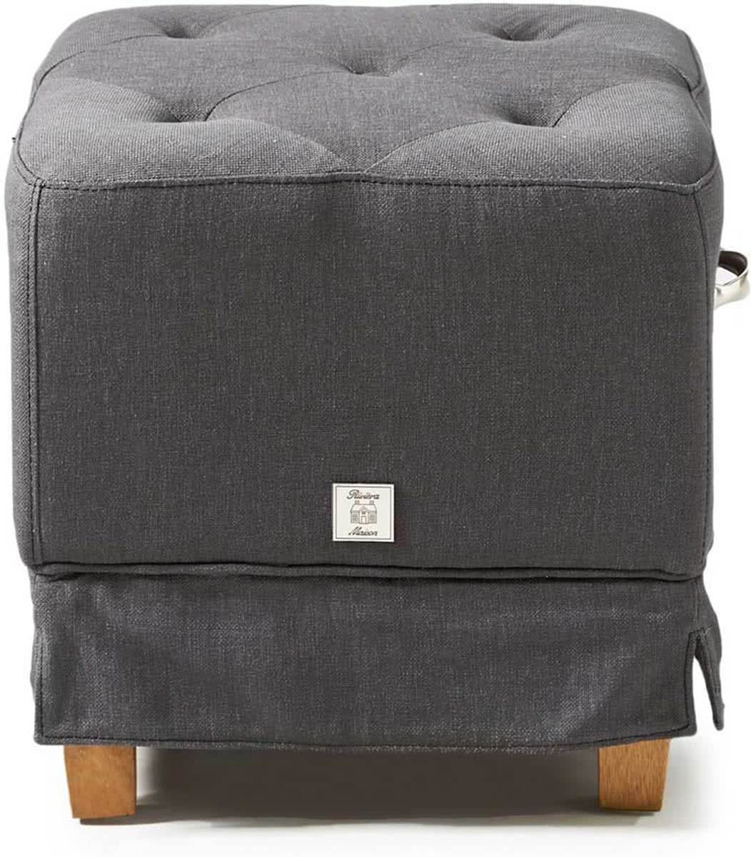 Riviera Maison The Club Footstool – Poef – Antraciet – Linnen